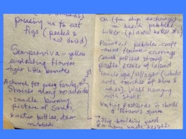 irregular writing from holiday diary